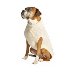 Chilly Dog - Cable Knit Dog Sweater - Natural - XXS