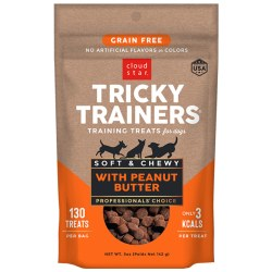Cloud Star Tricky Trainers - Grain Free Chewy Peanut Butter Flavor - Dog Treats - 5 oz