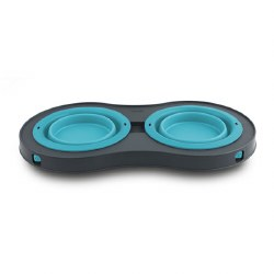 Dexas - Double Elevated Feeder - Blue - 1 cup