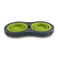 Dexas - Double Elevated Feeder - Green - 1 cup