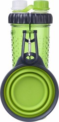 Dexas - H-DuO Hydration Bottle with Collapsible Cup - Green