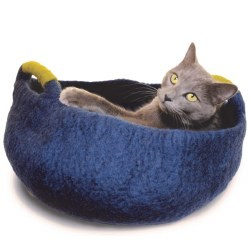 Dharma Dog Karma Cat - Felted Bed - Basket with Handles - Navy - Medium