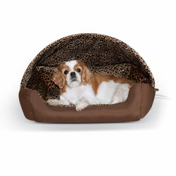 K&H - Thermo-Hooded Lounger - Chocolate/Leopard