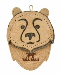 """Tall Tails - Leather Bear - Dog Throw and Tug Toy - 4"""""""