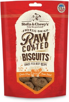 Stella & Chewy's Raw Coated Biscuits - Grass Fed Beef Recipe - Dog Treats - 9 oz