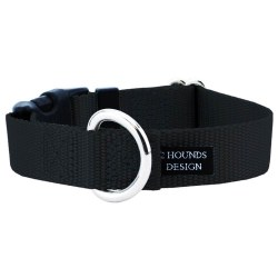 "2 Hounds - Dog Collar - Black 1"" Wide - Medium"