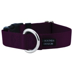 "2 Hounds - Dog Collar - Burgundy 1"" Wide - Medium"