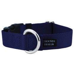 "2 Hounds - Dog Collar - Navy 1"" Wide - Medium"