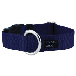 """2 Hounds - Dog Collar - Navy 1"""" Wide - Small"""