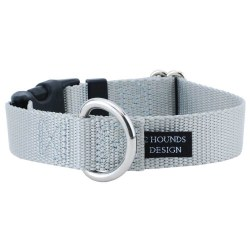 """2 Hounds - Dog Collar - Silver 1"""" Wide - Small"""