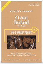 Bocce's Bakery - Crunchy Dog Treat - Grain Free Biscuts -  Peanut Butter & Banana - 12 oz