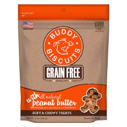 Buddy Biscuits - Dog Treats - Grain Free Soft and Chewy - Peanut Butter - 5 oz