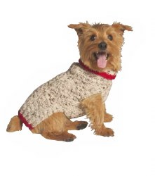 Chilly Dog - Cable Knit Dog Sweater - Oatmeal - Large