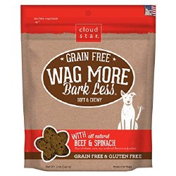Cloud Star - Dog Treats - Wag More Bark Less - Grain Free Soft & Chewy Beef & Spinach - 5 oz