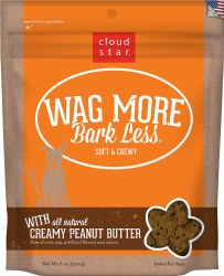 Cloud Star - Dog Treats - Wag More Bark Less - Soft & Chewy Peanut Butter - 6 oz