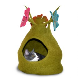 Dharma Dog Karma Cat - Felted Bed - Bouquet Cave - Green