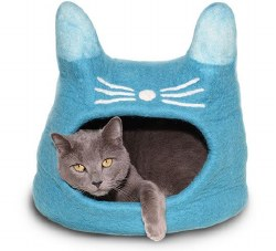 Dharma Dog Karma Cat - Felted Bed - Cat Cave - Turquoise