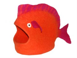 Dharma Dog Karma Cat - Felted Bed - Fish Cave - Orange