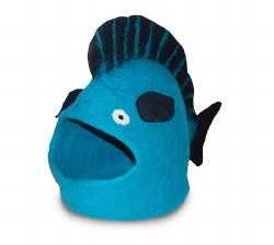 Dharma Dog Karma Cat - Felted Bed - Fish Cave - Turquoise