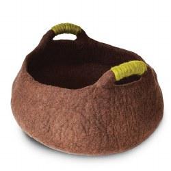 Dharma Dog Karma Cat - Felted Bed - Basket with Handles - Brown - Medium