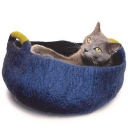 Dharma Dog Karma Cat - Felted Bed - Basket with Handles - Navy - Medium
