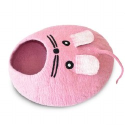 Dharma Dog Karma Cat - Felted Bed - Mouse Cave - Pink