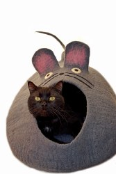 Dharma Dog Karma Cat - Felted Bed - Mouse Cave - Grey