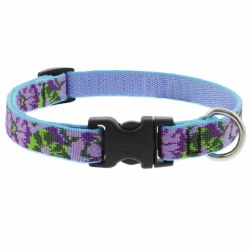 "Lupine MicroBatch - 3/4"" Wide Adjustable Collar - Purple Pansies - 9-14"""