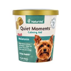 NaturVet - Quiet Moments plus Melatonin - Dog Calming Aid - Soft Chews - 70 ct