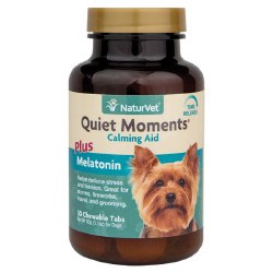NaturVet - Quiet Moments plus Melatonin - Dog Calming Aid - Chewable Tablets - 30 ct