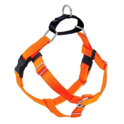 """2 Hounds - Freedom No-Pull Harness - Neon Orange 5/8"""" Wide - Small"""