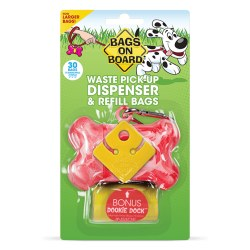 Bags on Board - Poop Bag Dispenser - Bone - Pink