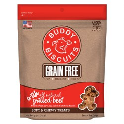 Buddy Biscuits - Dog Treats - Grain Free Soft and Chewy - Grilled Beef - 5 oz