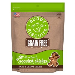 Buddy Biscuits - Dog Treats - Grain Free Soft and Chewy - Roasted Chicken - 5 oz