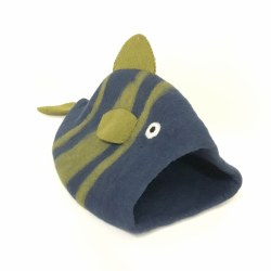 Dharma Dog Karma Cat - Felted Bed - Fish Cave - Navy/Green