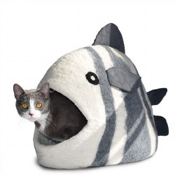 Dharma Dog Karma Cat - Felted Bed - Fish Cave - White