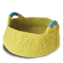 Dharma Dog Karma Cat - Felted Bed - Basket with Handles - Green - Medium
