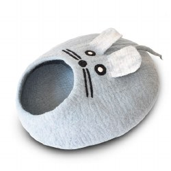 Dharma Dog Karma Cat - Felted Bed - Mouse Cave - Blue