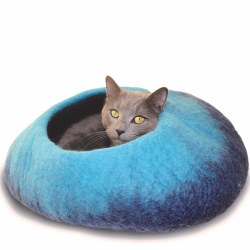 Dharma Dog Karma Cat - Felted Bed - Ombre Cave - Navy/Turquoise