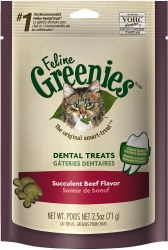 Greenies - Beef Flavor Dental Treats - Cat Treats - 2.5 oz