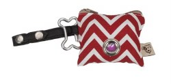 Jax & Bones - Poop Bag Holder - P.U.P. Waste Bag Dispenser - Zig Zag Red