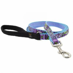 "Lupine MicroBatch - 3/4"" Wide Padded Handle Leash - Purple Pansies - 4'"