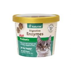 NaturVet - Digestive Enzymes Plus Probiotics for Cats - Soft Chews - 60 ct