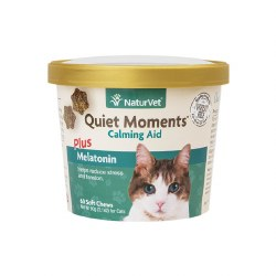 NaturVet - Quiet Moments plus Melatonin - Cat Calming Aid - Soft Chews - 60 ct