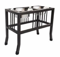 """Pets Stop - Baron Double Diner - Raised Diner - 18"""""""