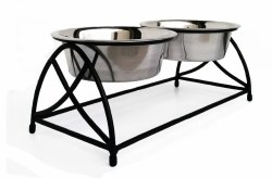 Pets Stop - Butterfly Double Diner - Raised Diner - Black -  2 qt
