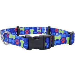 "SecureAway - 1"" Flea Collar Protector - Multi Bones - 14-20"""