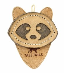 """Tall Tails - Leather Raccoon - Dog Throw and Tug Toy - 4"""""""