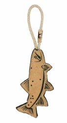"""Tall Tails - Leather Trout Tug - Dog Throw and Tug Toy - 16"""""""