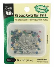Assorted Color Ball Pins-Long-No.24 1 1/2''